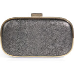 Anya Hindmarch Leather Marano Clutch in Silver Vintage Metallic
