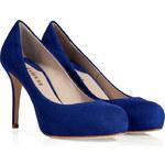 Le Silla Cobalt Blue Suede Overlasted Mid Heel Platform Pumps