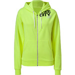 Free City Glo-Yellow Zip Hoodie with Logo Print