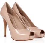 Le Silla Nude Patent Leather Platform Peep Toes