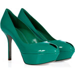 Sergio Rossi Emerald Patent Leather Platform Peep-Toes