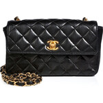 Chanel Vintage Jewelry Quilted Leather Mini Flap Bag in Black
