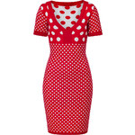 Joseph Red/White Wool-Cashmere Paule Spot Knit Dress