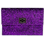 Anya Hindmarch Sparkling Plum Halo Glitter Valorie Clutch