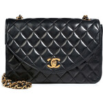 Chanel Vintage Jewelry Quilted Leather Round Flap Bag in Black