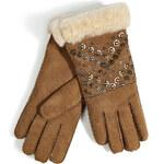 UGG Australia Shearling Eliott Gloves with Allover Studs in Chestnut