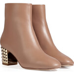 Valentino Leather Ankle Boots with Rockstud Heel in Alpaca