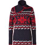 Ralph Lauren Blue Label Wool-Alpaca Funnel Neck Pullover in Navy Snowflake