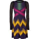 M Missoni Wool Blend Long Sleeve Multi Color Patterned Knit Dress