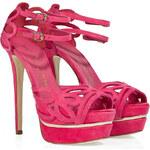 Le Silla Pink Suede Cut-Out Platform Sandals