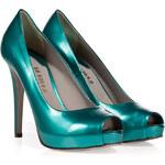 Le Silla Metallic Turquoise Leather Platform Peep-Toes