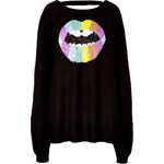 Wildfox Psychedelic Lips Pullover in Clean Black