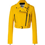 Burberry London Leather Biker Jacket in Tourmaline Yellow