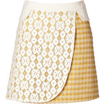 Moschino Cheap and Chic Mixed-Media Skirt in Yellow
