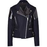 Victoria Beckham Denim Wool/Leather Biker Jacket in Navy