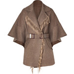 Ermanno Scervino Clay Heather Fringed Wool Cape
