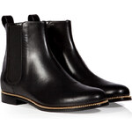 Sergio Rossi Leather Ankle Boots with Zipper Trim in Black