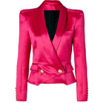 Balmain Wool-Silk Bold Shoulder Blazer in Fuchsia