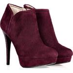 Kors Michael Kors Aubergine Suede Ankle Boots with Snakeskin Heel
