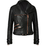 Avelon Quilted Leather Jacket in Black