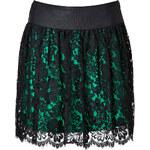 Milly Margaret Scalloped Skirt in Emerald/Black