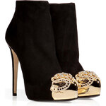 Le Silla Suede Platform Ankle Boots with Golden Crystal
