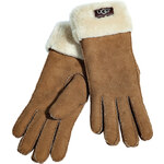 UGG Australia Shearling Turn Cuff Gloves in Chestnut