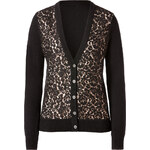 Michael Kors Cashmere/Lace Cardigan in Black/Nude