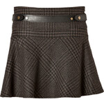 Belstaff Wool-Angora Aldford Check Skirt in Walnut Melange