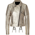 Faith Connexion Leather Perfecto Jacket in Gold
