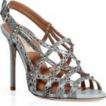 Valentino Ice Blue Studded Python Sandals