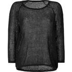 James Perse Cotton Mesh Raglan Sleeve Pullover in Black