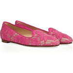 Valentino Pink/Nude Lace/Leather Slipper-Style Loafers
