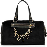 Juicy Couture Black Velour Iconic Charm Steffy Bag