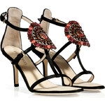 Emilio Pucci Black Suede Sandals with Brooch