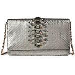 Zagliani Python Bobon Clutch with Swarovski Embellishment in Silver