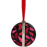 Diane von Furstenberg Leather Embroidered Round Fetish Satchel in Black/Red