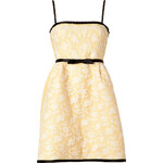 Valentino Light Yellow/White Belted Lace Dress