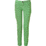 Current/Elliott Rasta Green Leopard Print Fringed Skinny Jeans
