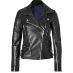 Victoria Beckham Denim Leather Joan Biker Jacket in Black