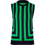 Michael Kors Palm Green/Navy Striped Sleeveless Cashmere Top