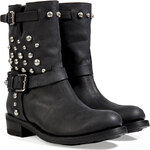 Ralph Lauren Collection Leather Studded Maiya Half Boots in Black