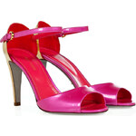 Sergio Rossi Pink/Gold Patent Leather Open Toe Sandals