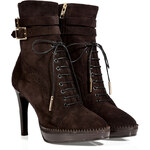 Burberry London Suede Manners Ankle Boots in Chocolate