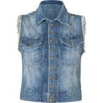 Current/Elliott Blue Shredded Snap Jacket