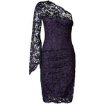 Emilio Pucci One Shoulder Lace Overlay Dress in Prugna