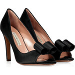 LAutre Chose Black Silk Satin Peep-Toe Pumps