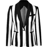 Maje Striped Blazer in Black/White