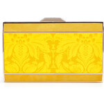 Anya Hindmarch Mustard Damask Satin Duchess Clutch