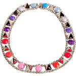 Tom Binns Purple/Pink Graduated Crystal Necklace with Silver Studs